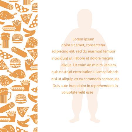 Fat man with unhealthy lifestyle symbols. Harmful eating habits Vector illustration.