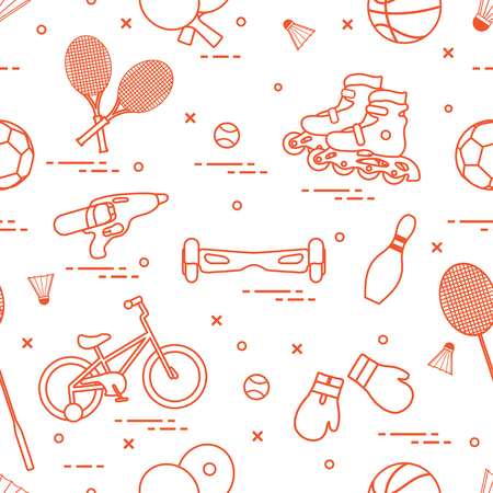 Pattern with bicycle, rollers, gyroscooter, boxing gloves, water pistol, and goods for bowling, table tennis, tennis, badminton, football, basketball. Vector illustration.