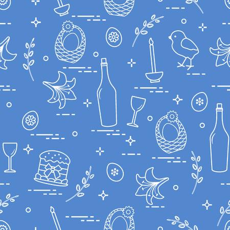 Pattern of Easter symbols: Easter cake, chick, lily, baskets, eggs and other. Vector illustration. Ilustração