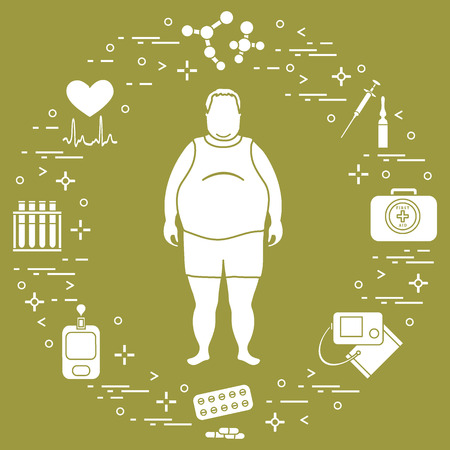 Fat man with medical devices, tools and drugs around him design for banner and print.