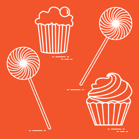 Lollipops and cakes. Design for banner and print.
