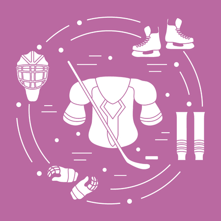 Skates, gloves, helmet, shoulder pads, hockey stick, hockey socks, ice hockey puck. Hockey equipment. Winter sports elements.