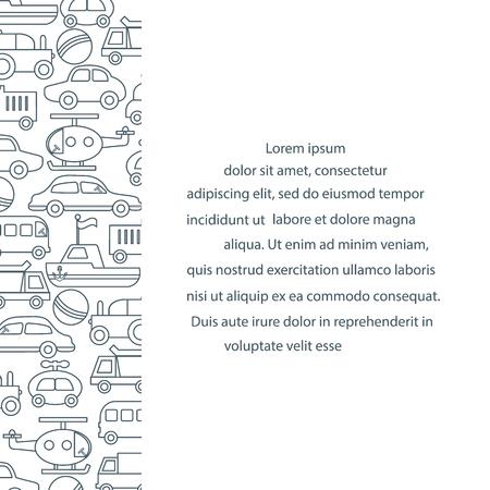 Children's toys: trucks, cars, bus, dump, ball, boat, helicopter. Design for poster or print. Foto de archivo - 96446446