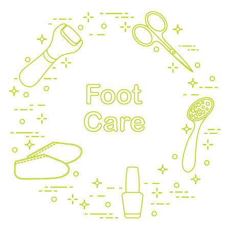 Tools for pedicure. Nail polish, electric foot file, pumice, scissors, silicone socks. Personal care. Stock Illustratie