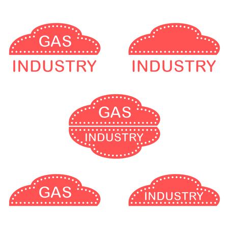 Etiquetas, pegatinas, logotipos de la industria del gas. Diseño para anuncio, anuncio, pancarta o impresión.