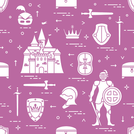 Seamless pattern with knight, castle, shields, swords, cuirass, helmet, crown, treasure chest. Design for banner or print.