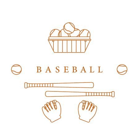 Gloves, balls, baseball bats. Baseball equipment. Sports elements. Illustration