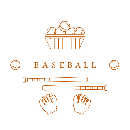 Gloves, balls, baseball bats. Baseball equipment. Sports elements. Ilustração