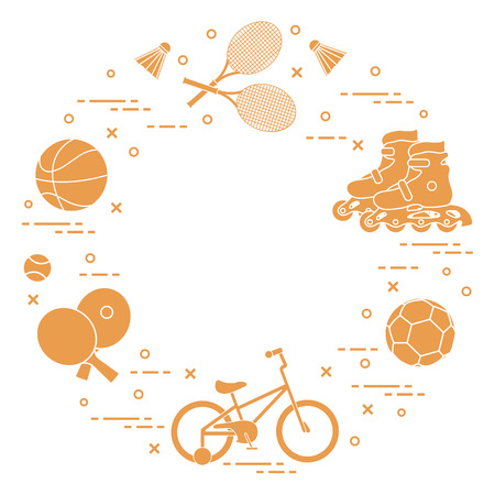 Badminton rackets and shuttlecocks, football and basketball balls, rackets and balls for table tennis, kids bicycle, rollers. Vector illustration.