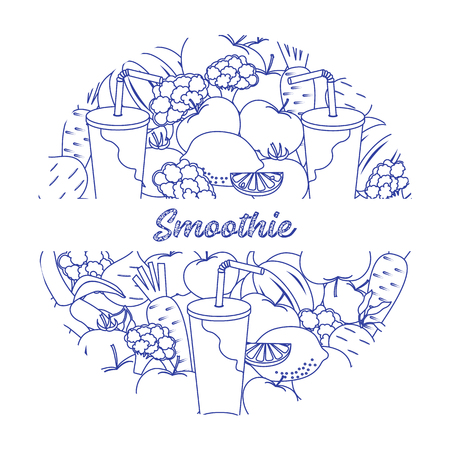 Smoothie and ingredients for making smoothie. Healthy eating habits  Vector illustration.