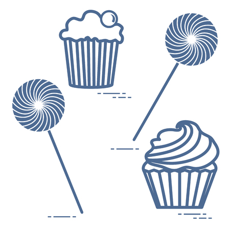 Lollipops and cakes. Design for banner and print. Vectores