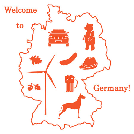 Vector illustration with various symbols of Germany. Travel and leisure  Design for banner, poster or print. Illustration