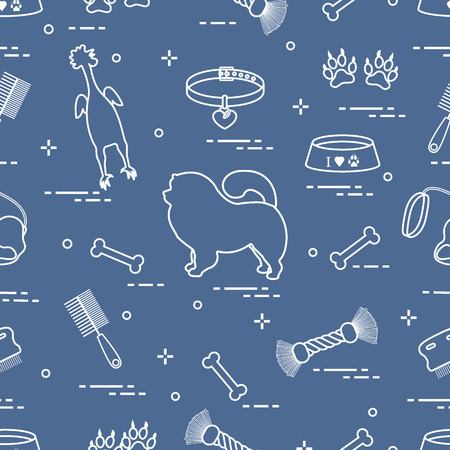 Pattern of silhouette chow-chow dog, bowl, bone, brush, comb, toys and other items to care for pet. Design for banner, poster or print. Vector illustration. Vectores