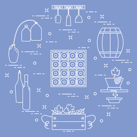 Winemaking: the production and storage of wine. Culture of drinking wine Vector illustration.