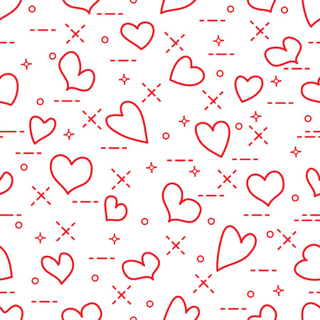 Cute seamless pattern with hearts. Template for design, fabric, print. Valentines day Vector illustration.