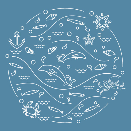 Cute vector illustration with dolphins, octopus, fish, anchor, helm, waves, seashells, starfish, crab arranged in a circle. Design for banner, poster or print. Ilustração