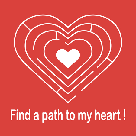 Labyrinth to the heart and the inscription find a path to my heart. Design for banner, poster or print. Greeting card Valentines Day Vector illustration.