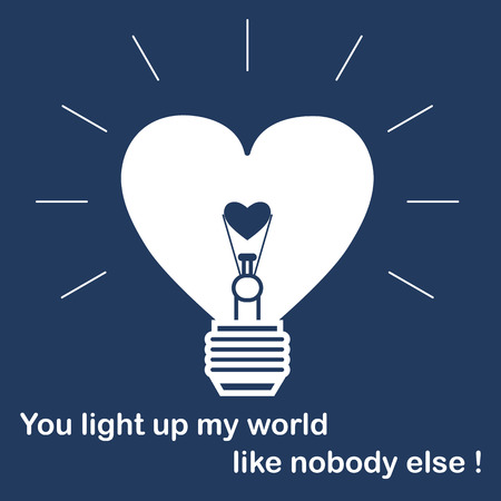 Glowing light bulb in the shape of a heart and the inscription. Design for banner, poster or print. Greeting card Valentine's Day.