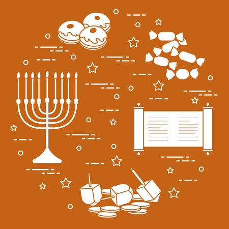 Jewish holiday Hanukkah: dreidel, sivivon, menorah, coins, donuts and other. Design for postcard, banner, poster or print. Vectores