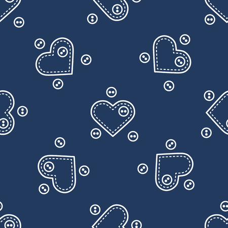 Cute seamless pattern with needle cases in shape of hearts and buttons.Template for design, fabric, print. Valentine's day.