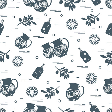 Cute seamless pattern with pitcher of sangria, orange, bottle of olive oil and branch with olives. Travel and leisure. Design for banner, poster or print.
