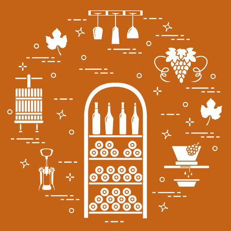 Wine making: the production and storage of wine. Culture of drinking wine. Design for announcement, advertisement, print.