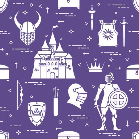 Seamless pattern of medieval theme design for banner or print. Illustration