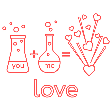 You and me and our chemistry of love. Design for banner, poster or print. Greeting card Valentine's Day. Ilustração