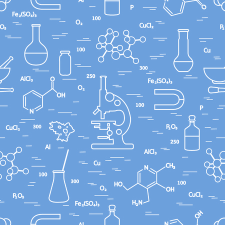 Seamless pattern with variety scientific, education elements design for banner, poster or print.