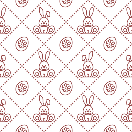 Seamless pattern with rabbits and eggs with flower. Design for banner and print.