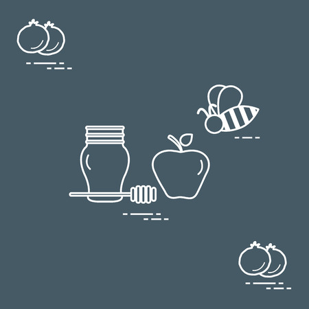 Apple in honey in Rosh Hashanah. Traditional Jewish food and symbols. Design for postcard, banner, poster or print.