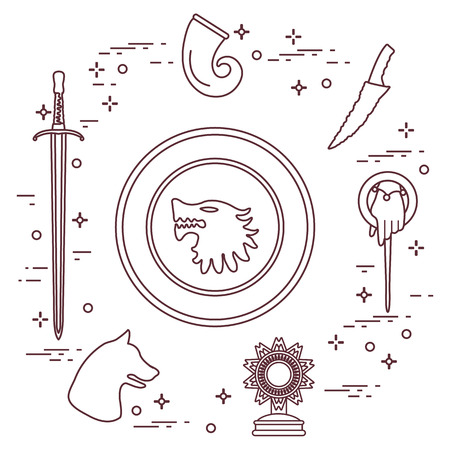 Symbols of the popular fantasy television series. Art and cinema theme.  イラスト・ベクター素材
