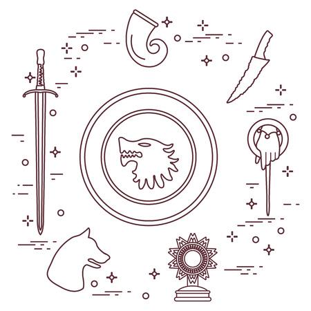 Symbols of the popular fantasy television series. Art and cinema theme. 일러스트