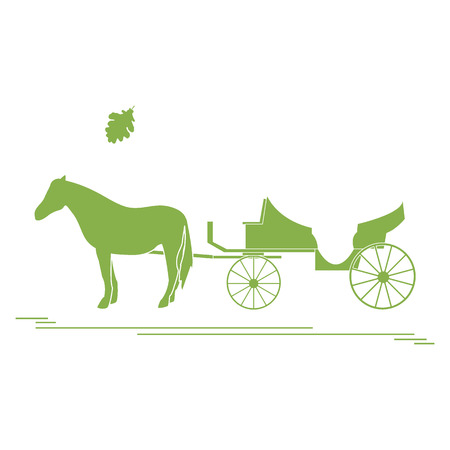 Vector illustration with horse-drawn carriage and oak leaf. Travel and leisure. Design for banner, poster or print. Vectores