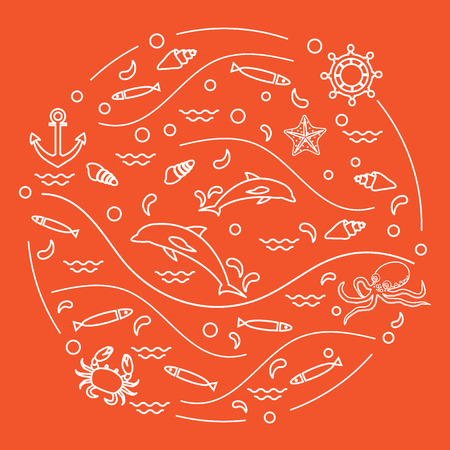 Cute vector illustration animals under the sea arranged in a circle. Design for banner, poster or print. Illustration