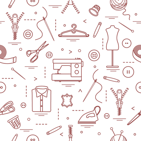 Seamless pattern with tools and accessories for sewing. Template for design, fabric, print.