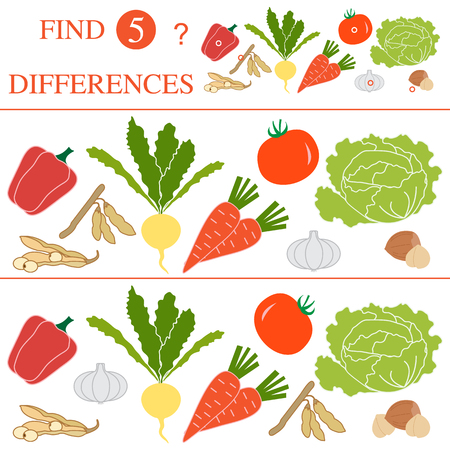 Find 5 differences of a vegetables vector. Educational games for children.