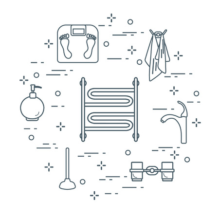 Bathroom elements:  scales, towel warmer, faucet, plunger, glasses, soap dispenser, towels. Design for poster or print.
