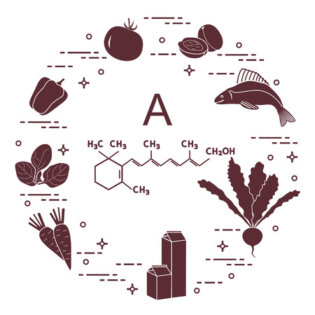 Different type of foods and vegetables that rich in vitamin A arranged in a circle.