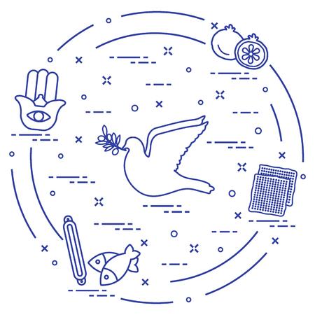 Jewish symbols arrange in a circle. Design for postcard, banner, poster or print. Stock Vector - 96641307