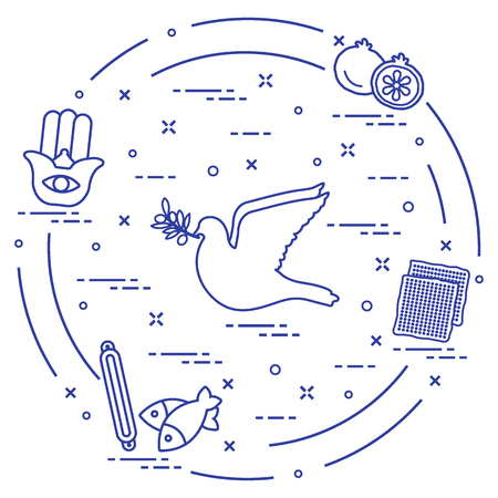 Jewish symbols arrange in a circle. Design for postcard, banner, poster or print.