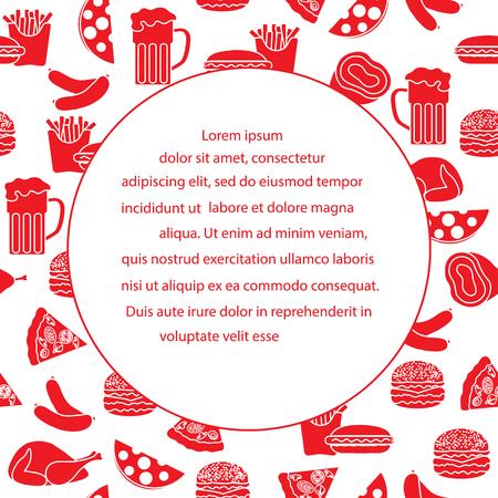 Different types of fast food elements for banner design Illustration