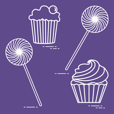 Lollipops and cakes. Design for banner and print. 矢量图像
