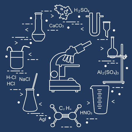 Chemistry scientific, education elements: microscope, flasks, tripod, formulas, beaker, amoeba, measuring cup, funnel, U-shaped tube. Design for banner, poster or print. Stock Illustratie