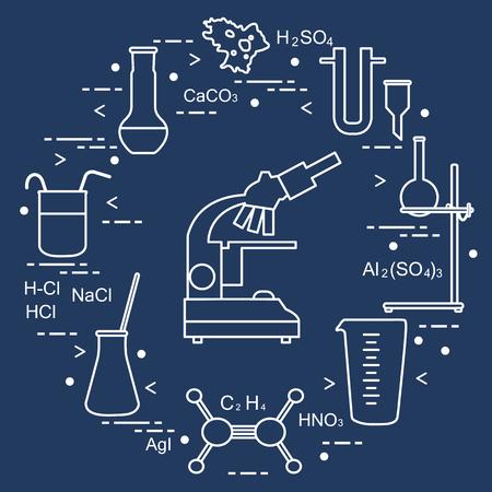 Chemistry scientific, education elements: microscope, flasks, tripod, formulas, beaker, amoeba, measuring cup, funnel, U-shaped tube. Design for banner, poster or print. Vettoriali