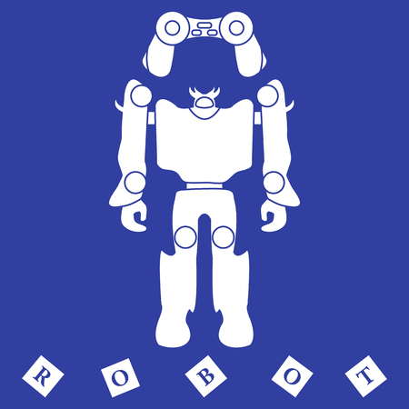 Toys for children: robot, remote control, cubes. Design for banner, poster or print.