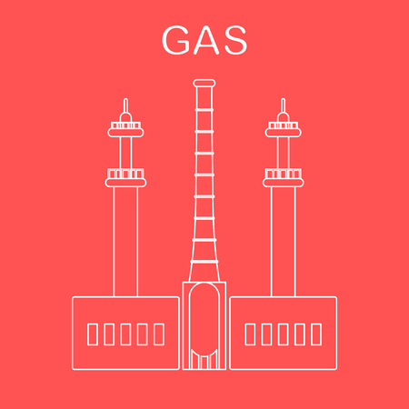 Gas processing plant. Industrial theme. Design for announcement, advertisement, banner or print.