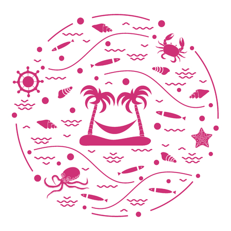 Cute vector illustration with octopus, fish, island with palm trees and a hammock in a circle. Design for banner, poster or print. Vectores