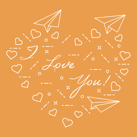 Paper airplane, hearts and inscription i love you. Template for design, fabric, print. Valentines Day.