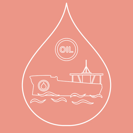 Droplet inside a tanker carrying oil. Production and transportation of oil.